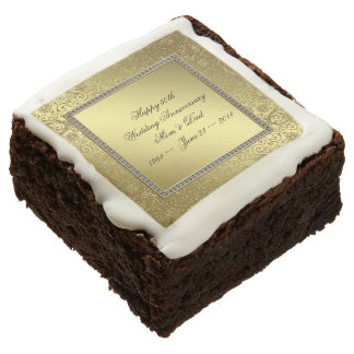 Classic Golden Wedding Anniversary Brownie
