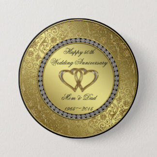 Classic Golden Wedding Anniversary Button