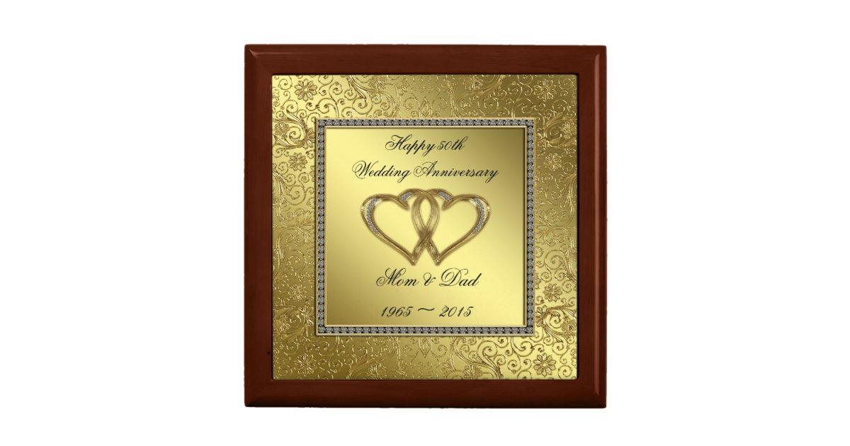 Wedding Anniversary Gift Box : Classic Golden Wedding Anniversary Gift Box Zazzle