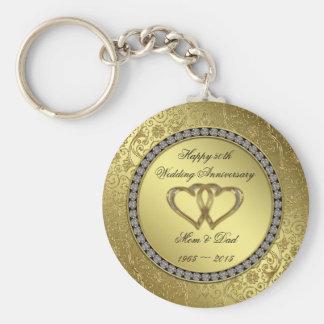 Classic Golden Wedding Anniversary Key Chain