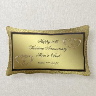 Classic Golden Wedding Anniversary Lumbar Pillow