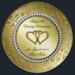 "Classic Golden Wedding Anniversary Porcelain Plate<br><div class=""desc"">A Digitalbcon Images Design featuring a gold and black color theme with a variety of custom images, shapes, patterns, styles and fonts in this one-of-a-kind &quot;Golden Wedding Anniversary&quot; Porcelain Plate. This elegant and attractive design makes the ideal gift for the Anniversary Couple on the special occasion and comes with customizable...</div>"