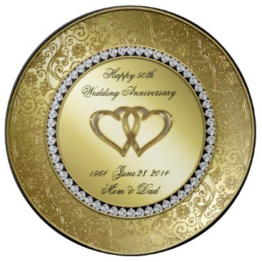 Digitalbcon Classic Golden Wedding Anniversary Porcelain Plate