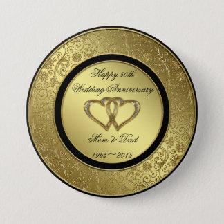 Classic Golden Wedding Anniversary Round Button