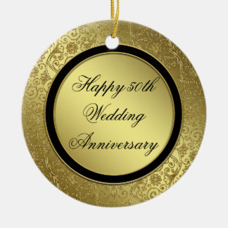 Classic Golden Wedding Anniversary round ornament