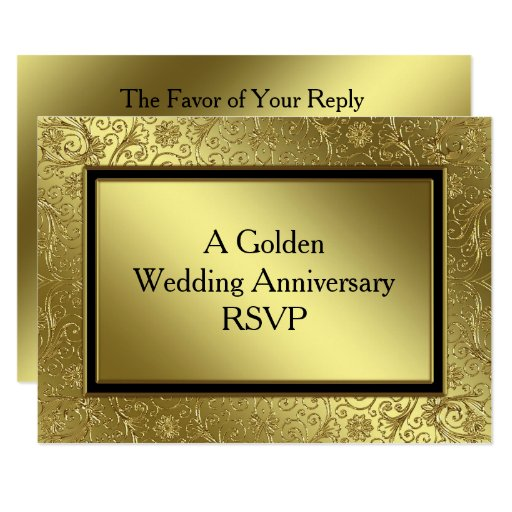 Golden Wedding Anniversary Gift Experiences : Classic Golden Wedding Anniversary RSVP Card Zazzle