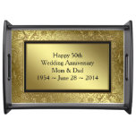 Classic Golden Wedding Anniversary Serving Tray