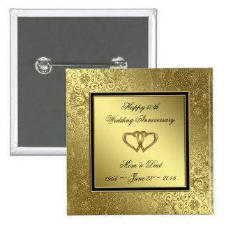 Classic Golden Wedding Anniversary Square Button