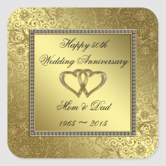 Classic Golden Wedding Anniversary Sticker