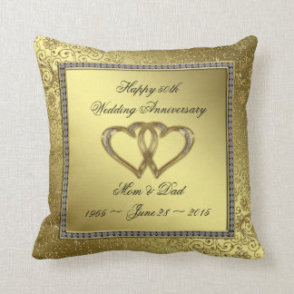 Classic Golden Wedding Anniversary Throw Pillow