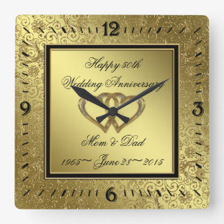 Classic Golden Wedding Anniversary Wall Clock