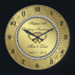 "Classic Golden Wedding Anniversary Wall Clock<br><div class=""desc"">A Digitalbcon Images Design featuring a gold and black color theme with a variety of custom images, shapes, patterns, styles and fonts in this one-of-a-kind &quot;Golden Wedding Anniversary&quot; Wall Clock. This elegant and attractive design comes complete with customizable text lettering and elements. This clock will make the ideal gift for...</div>"