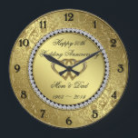 """Classic Golden Wedding Anniversary Wall Clock<br><div class=""""desc"""">A Digitalbcon Images Design featuring a gold and black color theme with a variety of custom images, shapes, patterns, styles and fonts in this one-of-a-kind &quot;Golden Wedding Anniversary&quot; Wall Clock. This elegant and attractive design comes complete with customizable text lettering and elements. This clock will make the ideal gift for...</div>"""