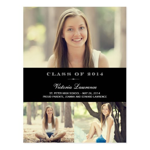 Classic Grad Graduation Announcement Black Post Card