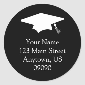 Classic Graduation Address Label (Black) Classic Round Sticker
