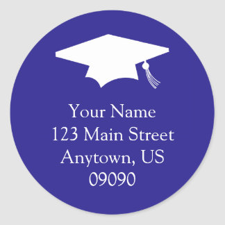 Classic Graduation Address Label (Dark Blue)
