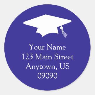 Classic Graduation Address Label (Dark Blue) Classic Round Sticker
