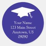 Classic Graduation Address Label (Dark Blue) Sticker