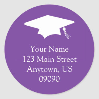 Classic Graduation Address Label (Dark Purple) Classic Round Sticker
