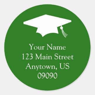 Classic Graduation Address Label (Green) Classic Round Sticker
