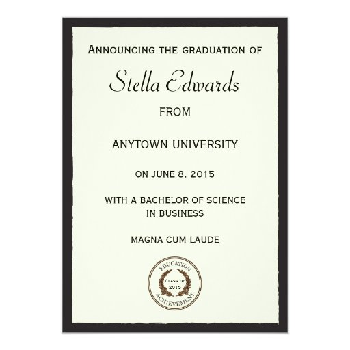 Classic Graduation Announcement