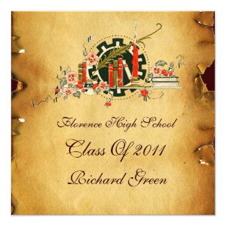 CLASSIC GRADUATION PARCHMENT RED WAX SEAL MONOGRAM CARD