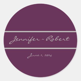 Classic Grape Wedding Envelope Seal Classic Round Sticker