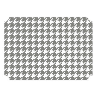 Classic Gray and White Houndstooth Pattern 5x7 Paper Invitation Card