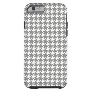 Classic Gray and White Houndstooth Pattern Tough iPhone 6 Case