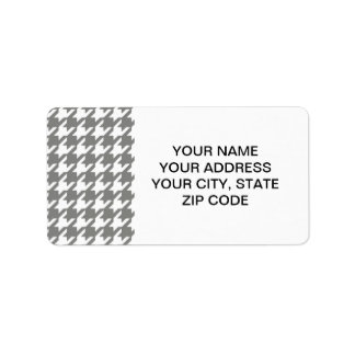 Classic Gray and White Houndstooth Pattern Label