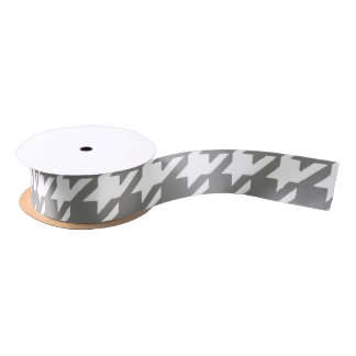 Classic Gray and White Houndstooth Pattern Satin Ribbon