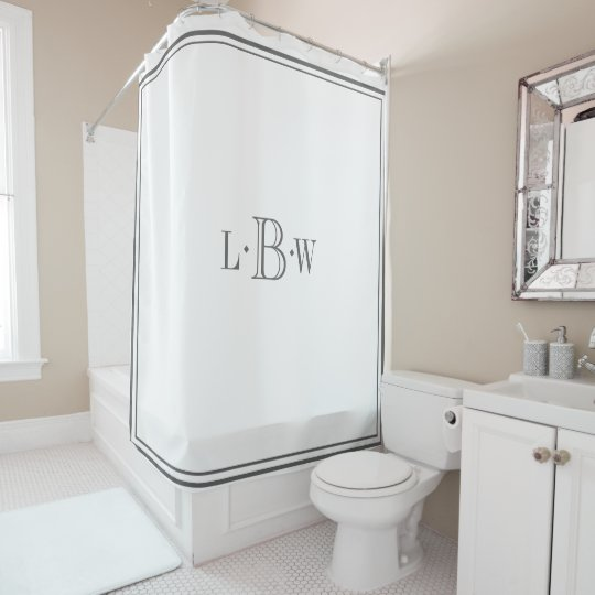 Classic Gray Border Monogrammed Shower Curtain | Zazzle.com