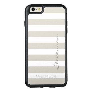 Classic Gray Linen Beige Stripes Custom Name OtterBox iPhone 6/6s Plus Case