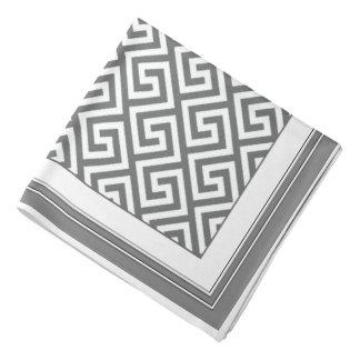 Classic Gray White Celtic Key Pattern Bandana