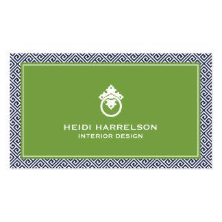 Classic Greek Key Pattern Door Knocker Blue/Green Business Card