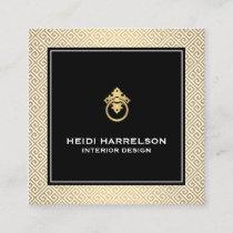 Classic Greek Key Pattern Door Knocker Gold/Black Square Business Card