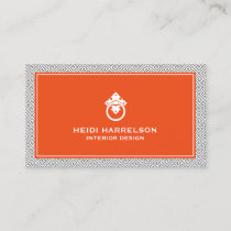 Classic Greek Key Pattern Door Knocker Gray/Orange Business Card