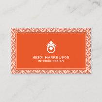 Classic Greek Key Pattern Door Knocker Orange Business Card