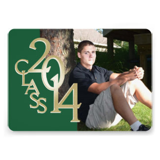 Classic Green 2014 Photo Graduation Invitation