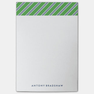 Classic Green and Blue Stripes Post-it Notes