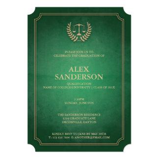 Classic Green and Gold Law School Graduation 5x7 Paper Invitation Card