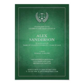 Classic Green and Silver Law School Graduation 5x7 Paper Invitation Card