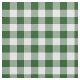 Classic Green and White Gingham Plaid Fabric