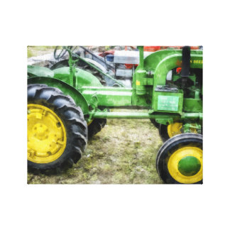 Classic green and yellow tractor canvas print