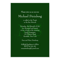 Classic Green Bar Mitzvah Invitation