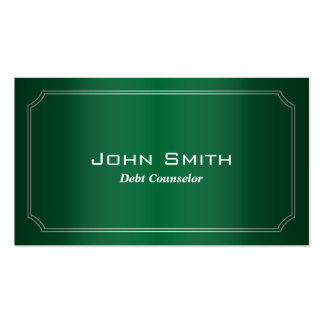 Classic Green Debt Counselor Business Card