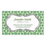 Classic Green Lucky Clover Simple Elegant Shamrock Business Card Template