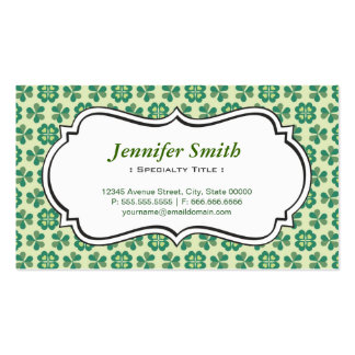 Classic Green Lucky Clover Simple Elegant Shamrock Business Card