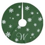Classic Green Monogram Snowflake Tree Skirt