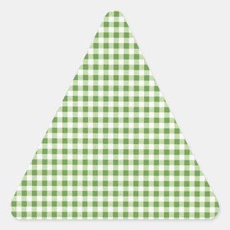 Classic Green Picnic Gingham Triangle Sticker